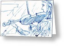 Violinist In Blue Greeting Card