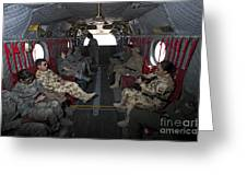 Vips In A Ch-47 Chinook Helicopter Greeting Card