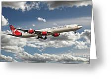 Virgin Airbus A340 G-vgas Greeting Card