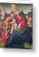 Virgin And Child And Angel Musicians  Greeting Card by Piero di Cosimo