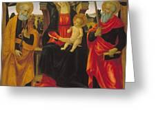 Virgin And Child Between Saint Peter And Saint Paul Greeting Card