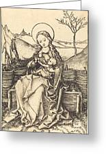 Virgin And Child On A Grassy Bench Greeting Card