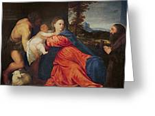 Virgin And Infant With Saint John The Baptist And Donor Greeting Card