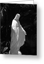 Virgin Mary In Black And White Greeting Card