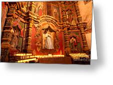 Virgin Mary Statue Candles Mission San Xavier Del Bac Greeting Card
