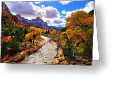 Virgin River Autumn Greeting Card by Greg Norrell