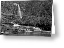 Virgina Falls In The Pool - Black And White Greeting Card