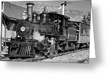 Virginia And Truckee Engine 25 Monochrome Greeting Card