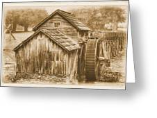 Virginia Country Roads - Mabry Mill No. 23 Sepia - Blue Ridge Parkway, Floyd County Greeting Card