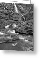 Virginia Falls Glacier Cascades - Black And White Greeting Card