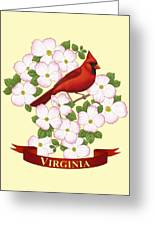 Virginia State Bird Cardinal And Flowering Dogwood Greeting Card by Crista Forest