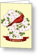 Virginia State Bird Cardinal And Flowering Dogwood Greeting Card