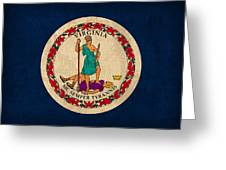 Virginia State Flag Art On Worn Canvas Edition 3 Greeting Card