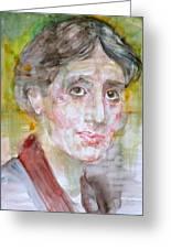 Virginia Woolf - Watercolor Portrait.7 Greeting Card