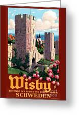 Visby Vintage Travel Poster Restored Greeting Card