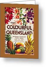 Visit Colorful Queensland - Vintage Poster Folded Greeting Card