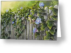 Visiting The Morning Glories Greeting Card
