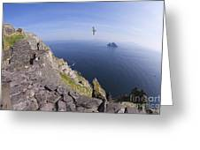Visitors Admire Celtic Monastery, Skellig Michael, Looking To Little Skellig, County Kerry, Ireland  Greeting Card