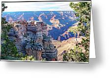 Visitors Dwarfed By Grand Canyon Vista Greeting Card