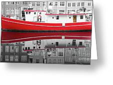 Vivid Rich Red Boat Greeting Card