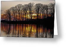 Vivid Sunset On The Lake In Olney Greeting Card