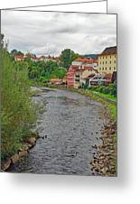 Vltava River As It Runs Slowly Through Cesky Krumlov In The Czech Republic Greeting Card