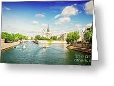 Notre Dame And River Seine Greeting Card
