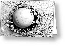 Volleyball Ball Breaking Forcibly Through A White Wall. 3d Illustration. Greeting Card