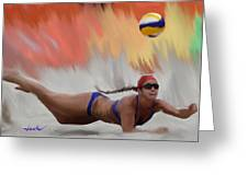 Volleyball Dig Greeting Card