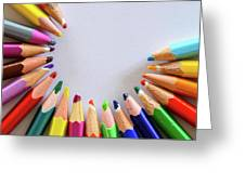 Vortex Of Colored Pencils On The Sheet Of Paper Greeting Card