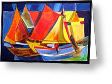 Voyage Of Boats Greeting Card
