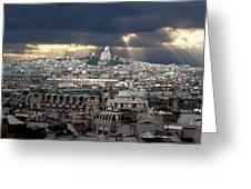 Vue De La Butte Montmartre.roofs Of Paris Greeting Card