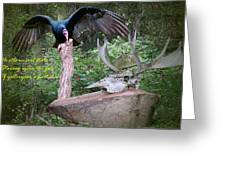 vulture with Skull Greeting Card