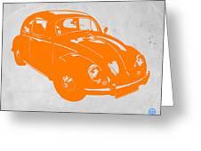 Vw Beetle Orange Greeting Card by Naxart Studio