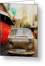 Vw Bus Parked In Basta Beirut  Greeting Card