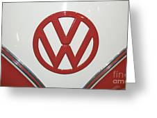 Vw Emblem In Red Greeting Card
