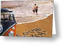 Vw Love On Beach Greeting Card