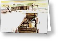 Wagon At White Sands Greeting Card