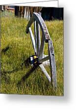 Wagon Wheel In Grass Greeting Card