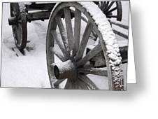 Wagon Wheels In Snow Greeting Card