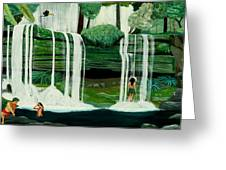 Wahines In Waterfall Greeting Card