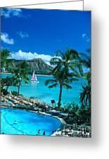 Waikiki And Sailboat Greeting Card