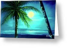 Waikiki Beach Moon #22 Greeting Card