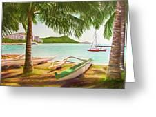 Waikiki Beach Outrigger Canoes 344 Greeting Card