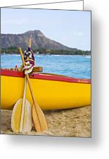 Waikiki Canoe Paddles Greeting Card