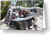 Waikiki Statue - Surfer Boy And Seal Greeting Card
