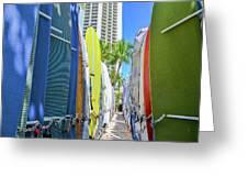 Waikiki Surfboards Greeting Card