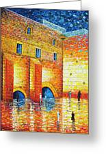 Wailing Wall Original Palette Knife Painting Greeting Card