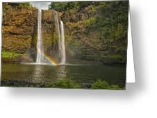 Wailua Falls Rainbow Greeting Card