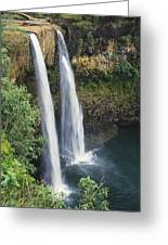 Wailua Falls Surrounded By Foliag Greeting Card